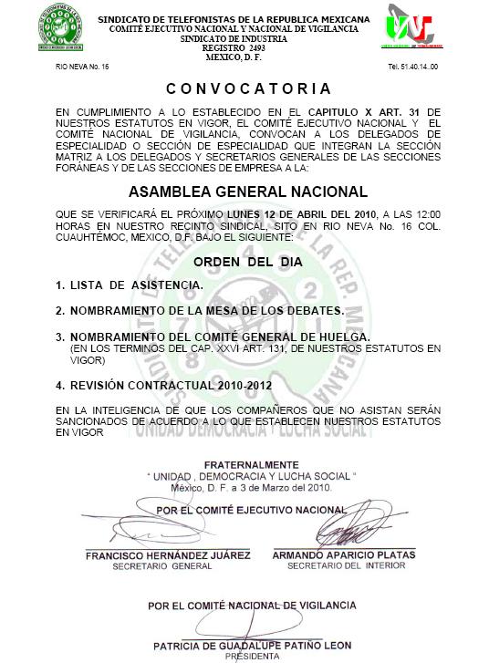 Convocatoria Asamblea Revisión Contractual